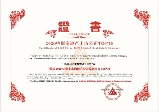 """金融街控股连续17年荣获""""沪深上市房地产公司综合实力TOP10"""""""